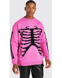 BoohooMAN Übergroßer Strickpullover mit Skelett-Print - Pink