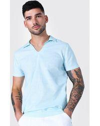 BoohooMAN Kurzärmliges Kaftan Leinenhemd - Blau