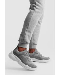 BoohooMAN Multi Panel Trainer With Chunky Sole - Gray