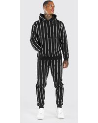 BoohooMAN All Over Man Stripe Tracksuit - Black