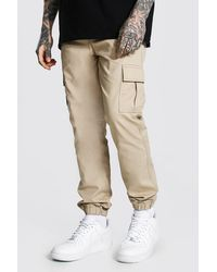 BoohooMAN Regular Fit Cargo Trouser - Natural