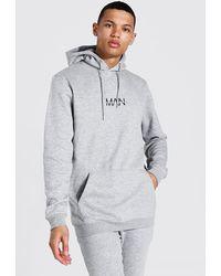 BoohooMAN Tall Recycled Man Dash Regular Fit Hoodie - Grey