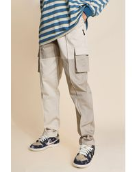 BoohooMAN Tall Regular Patchwork Twill Cargo Trousers - Multicolour