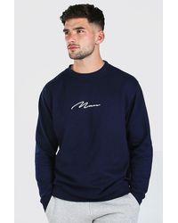 BoohooMAN Man Signature Print Sweatshirt - Blue