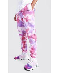 BoohooMAN Tall Regular Man Tie Dye Joggers - Pink