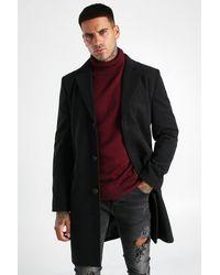 BoohooMAN Einreihiger Mantel aus Wollmischgewebe - Schwarz