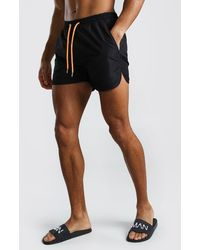 BoohooMAN Plain Runner Style Swim Shorts With Contrast Cords - Black