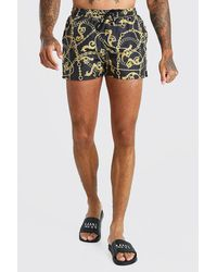 BoohooMAN 2 Pack Baroque And Plain Short Length Swim Shorts - Black
