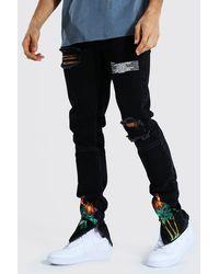 BoohooMAN Tall Skinny Jean With Palm Tree Print - Schwarz