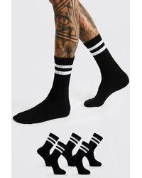 BoohooMAN 5 Pack With 2 Stripe Sport Socks - Black