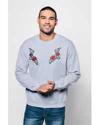 Boohoo - Crew Neck Sweat With Mirrored Embroidery - Lyst