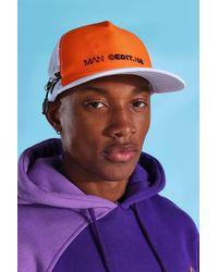 BoohooMAN Man Colour Block Zip Detail Snapback - Orange