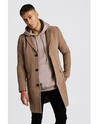 BoohooMAN Single Breasted Wool Mix Overcoat - Natural