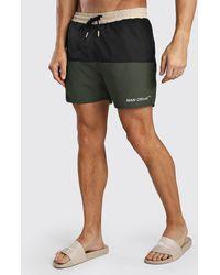 BoohooMAN Man Official Mid Length Colour Block Swim Short - Green