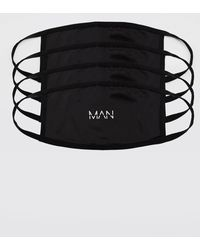BoohooMAN 4er-Pack Fashion-Masken mit MAN-Streifen - Schwarz