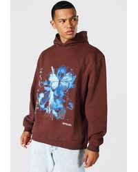 BoohooMAN Tall Oversized Butterfly Print Hoodie - Brown