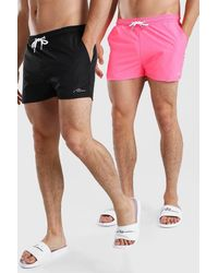 BoohooMAN Man Signature 2pk Plain Short Length Swim Shorts - Pink