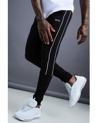 BoohooMAN - Man Tapered Jersey Jogger With Side Piping - Lyst