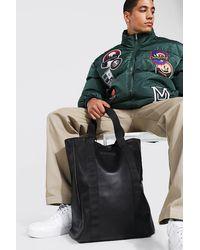 BoohooMAN Leather Look Tote Bag - Black