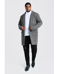 BoohooMAN Big And Tall Salt and Pepper Overcoat - Grau
