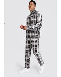 BoohooMAN Man Jacquard Funnel Neck Tape Tracksuit - Brown