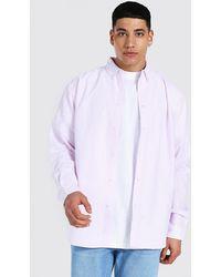 BoohooMAN Oversize Hemd mit Oxford Streifen - Pink
