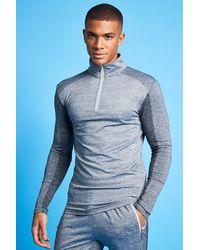 BoohooMAN Man Active Farblich abgestimmter Trainingsanzug mit 1/4-Reißverschluss - Grau