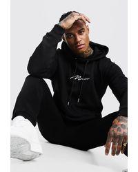 BoohooMAN Man Signature Regular Hooded Tracksuit - Black