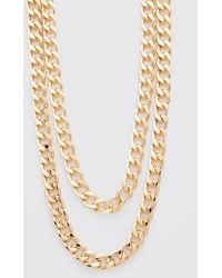 BoohooMAN Double Layer Chunky Chain Necklace - Metallic