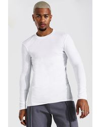 BoohooMAN Muscle Fit Long Sleeve T-shirt - White