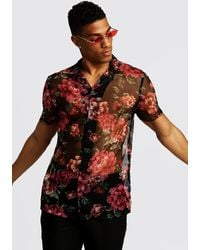 BoohooMAN - Short Sleeve Revere Shirt In Floral Mesh - Lyst