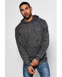 Boohoo - Over The Head Distressed Hoodie With Enzyme Wash - Lyst