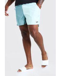 BoohooMAN Big & Tall Man Colour Block Mid Length Swimshort - Green