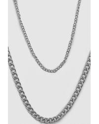 BoohooMAN Short Length Double Layer Chain - Metallic