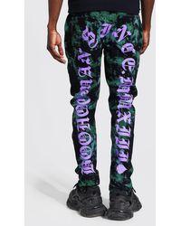 BoohooMAN Skinny Stretch Batik Jeans mit Print - Grün
