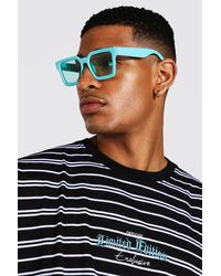 BoohooMAN Recycled Chunky Square Sunglasses - Green