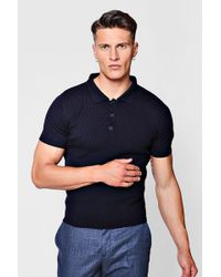 Boohoo - Short Sleeve Textured Knitted Polo - Lyst