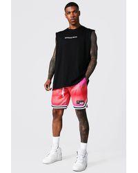 BoohooMAN Oversize Ombre man vesttop und Mesh-Shorts - Pink