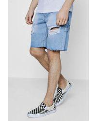 Boohoo - Distressed Bermuda Denim Shorts With Raw Hem - Lyst