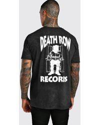 BoohooMAN Death Row Records Wash License T-shirt - Black