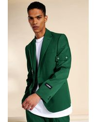 BoohooMAN Relaxed Buttoned Single Breasted Suit Jacket - Grün