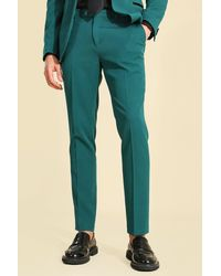 BoohooMAN Dunkelgrüne Skinny Anzughose