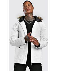 BoohooMAN Faux Fur Hooded Parka - White