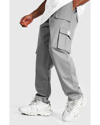 BoohooMAN Relaxed Twill Belt Front Cargo Trousers - Grau