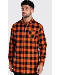 BoohooMAN Long Sleeve Longline Flannel Shirt - Orange