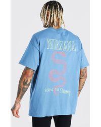 BoohooMAN T-shirt officiel Nirvana devant et dans le dos coupe oversize - Bleu