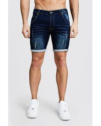 BoohooMAN Skinny Fit Jersey Denim Shorts With Selvedge - Blue