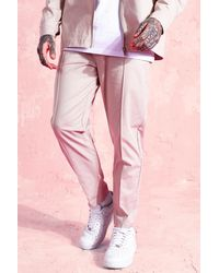 BoohooMAN Tapered Leg Twill Trousers - Rose