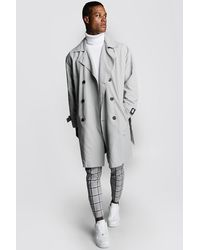 BoohooMAN Oversized Check Lined Trench Coat - Gray
