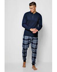 Boohoo Jersey Grandad Collar Pyjama With Check Trousers - Blue